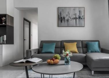 115㎡现代简约三居室,白墙、黑白电视柜,餐边柜,书柜